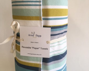 Fabric Paper Towels, Reusable Paper Towels, Sustainable Holiday Gift, Zero Waste Kitchen Towels, Unpaper Towels