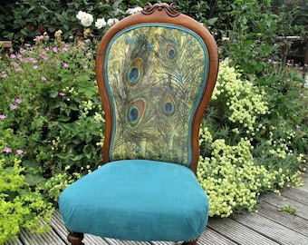 Victorian Chair with Unique Velvet Peacock Feathers Design