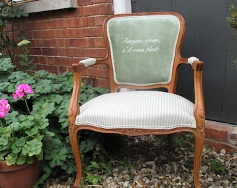 French Louis Style Bedroom Chair in Green Velvet & Ticking Fabric