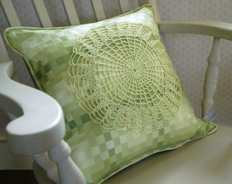 Handmade Vintage Doily Cushion in Lime Green Fabric. Vintage fabric, Unique Cushion, Bright Green, Crochet Doily