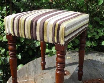 Vintage Upholstered Footstool/Piano Stool Olive Green & Purple Fabric