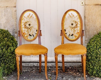 Pair of Vintage French Chairs with Stunning Dahlia Design