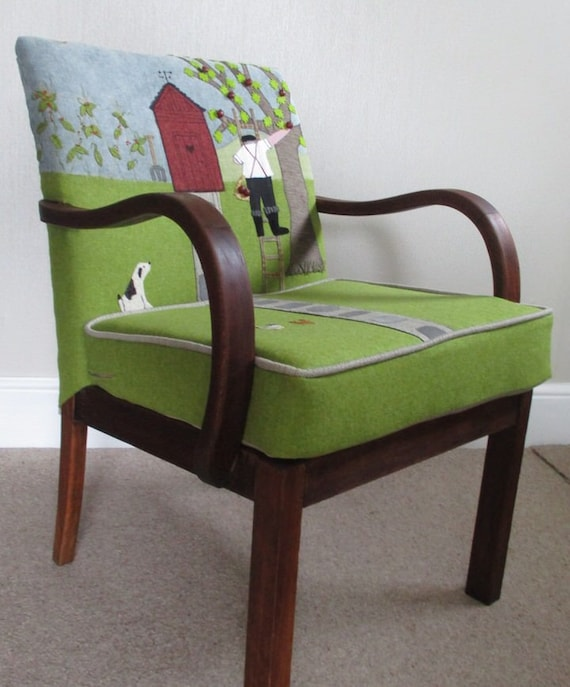 Vintage Parker Knoll Fireside Chair. Statement Chair. Unique Picture Chair. Gardener's Chair.