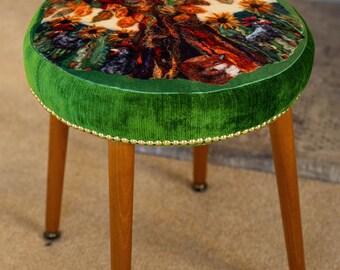 Retro Stool in Green Velvet with Stunning Felted Fox & Tree Design
