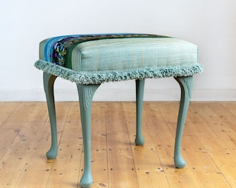 Sea Green Dressing Table Stool/Footstool with Summer Hares Design