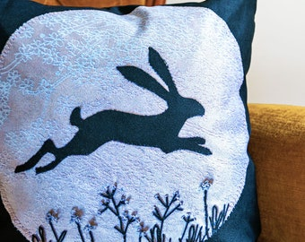 Leaping Hare Vegan Suede Cushion - with Feather Pad Insert