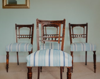 Four Antique French Dining/Bedroom Chairs. Seaside/Nautical Inspired Design.