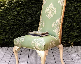 Accent/Statement Chair in Green & Yellow Silk Designer Fabrics