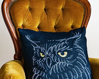 Embroidered Owl Vegan Suede Cushion - with Feather Pad Insert