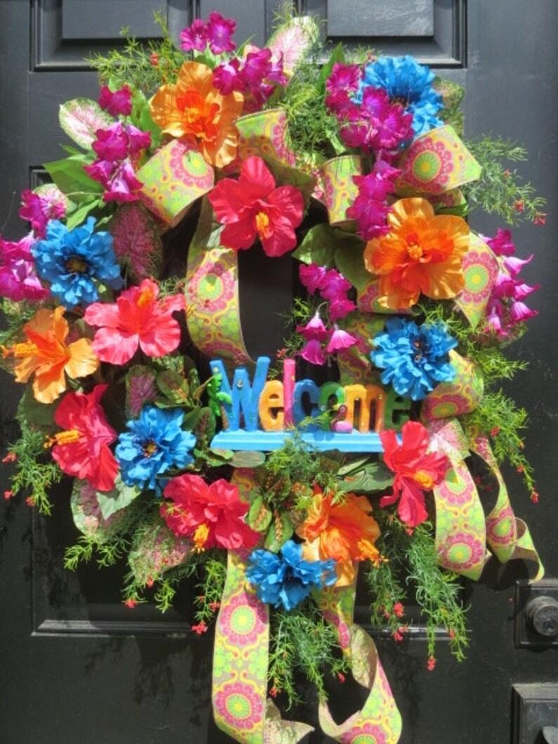 Summer Front Door Wreath Tropical Wreathtropical Door Etsy