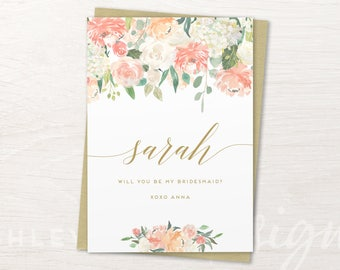 Personalized Bridesmaid Card, Will You Be My Bridesmaid, Bridesmaid Proposal Invitation, Bridesmaid Gift, Gold Bridesmaid, Maid of Honor