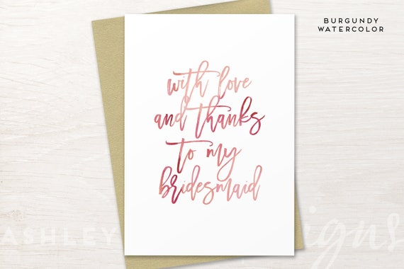 Bridesmaid Thank You Card Bridesmaid Gift Thank You For Being My