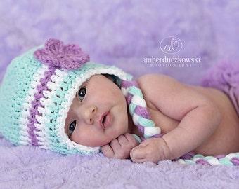 Flower Earflap hat  Aqua and Purple