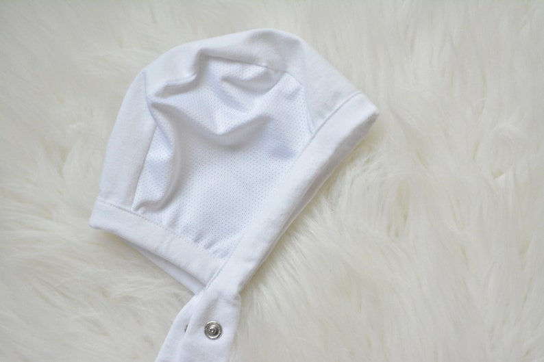 00b472918e5 LilNells Hat for Babies with Hearing Aids Solid White Mesh
