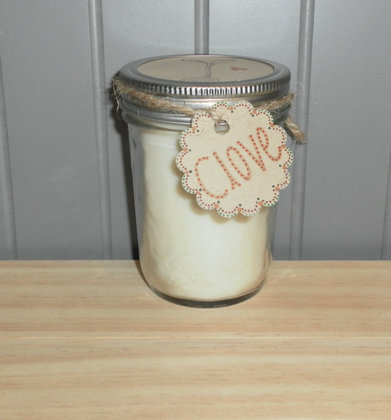 Clove Essential Oil Scented Soy Wax Candle with one hemp wick Clove - red