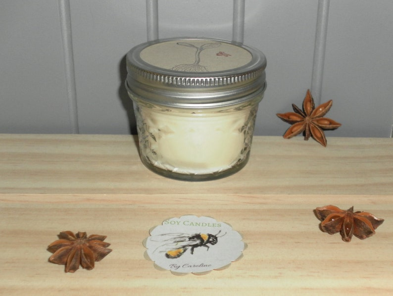 Anise Essential Oil Scented Soy Wax Candle poured in a 4 ounce mason jar  with optional tag  Tender Loving Care Gift for a friend or yourself