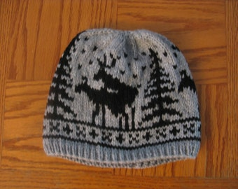 ffb11c81ea4 Pre-made Fornicating Deer Knit Hat - Light Grey with Black