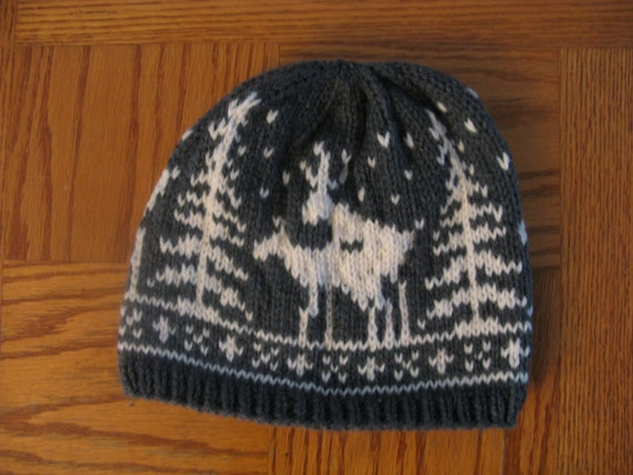 Pre-made Fornicating Deer Knit Hat Charcoal Grey with Cream  fc5305d6a3b