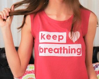 Keep Breathing - Berry Muscle Tee