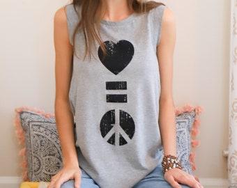 Love Is Peace - Grey Muscle Tee