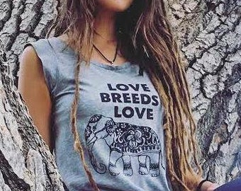 b0ab81549 Love Breeds Love with Elephant - Grey Muscle Graphic Tee Shirt