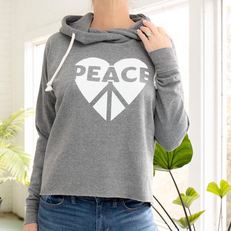 bde8c7608 Peace / Heart Heather Grey Pullover Hoodie | Etsy