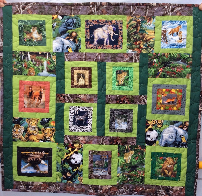 Wild Animal Wolf Lions Tiger Giraffe Elephant Eagle Ram with Camouflage and greens toddler baby Crib Comforter Quilt
