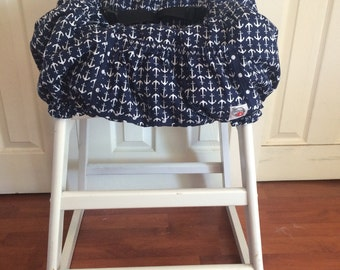 Hula Moon High Chair Cover/Shopping Cart Cover In Navy Anchor