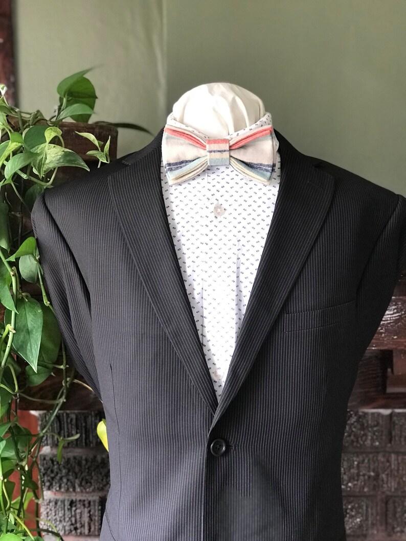 Muted Colors  Fall Wedding Handmade Gents Bow Tie Striped Simply Me \u2022 Gentlemen Adjustable Bow Tie