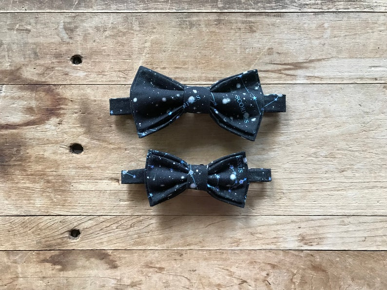 Stars and Constellations Father and Son Bow Tie Set Simply Me \u2022 Gentlemen Wedding Handmade Black
