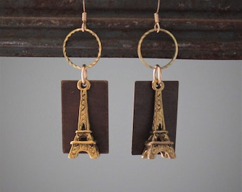 49128fa59 Suzette Earrings: Golden brass Eiffel towers dangle with antique brass and  golden rings on 14k gold filled ear wires