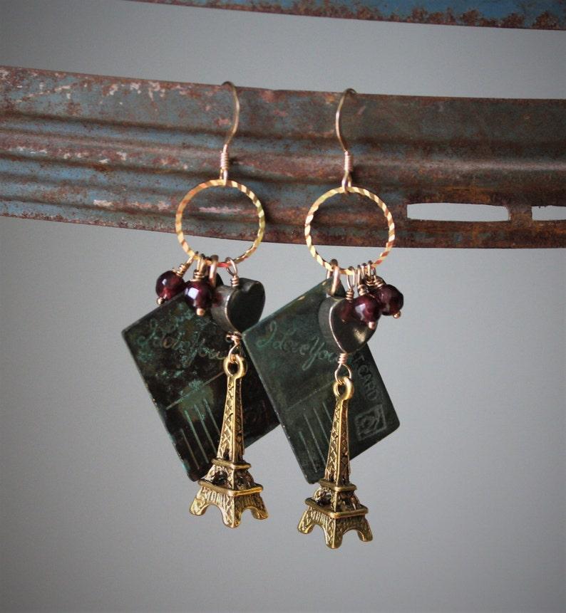 71239259a Amorette Earrings: Stunning brass Eiffel towers dangle w | Etsy