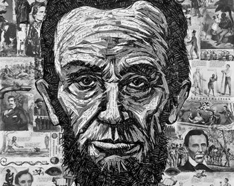 Lincoln In His Own Words, a collage painting using only hand-cut vintage paper