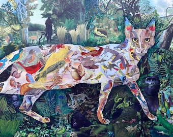 Cat In Paradise, collage art, limited edition giclee print, signed and numbered, all pets go to heaven, Henri Rousseau homage