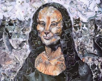 Lisa The Crazy Cat Lady, Meowna Lisa, Leonardo da Vinci, Mona Lisa, pop surrealism