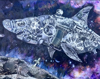 Star-Shark, Space-Junk Colonialism, signed and numbered limited edition giclee of a hand cut paper collage original