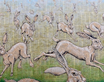 Harelucinations, limited edition giclee print of 25 signed and numbered prints