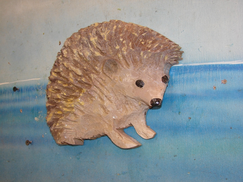 Chainsaw carved white bellied hedgehog wall art hand carved etsy