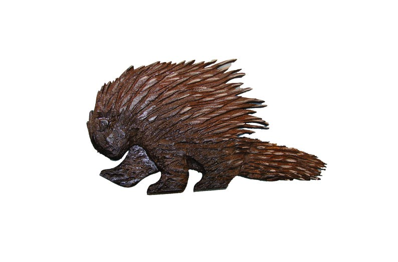 Chainsaw carving porcupine hand carved rustic folk art western etsy