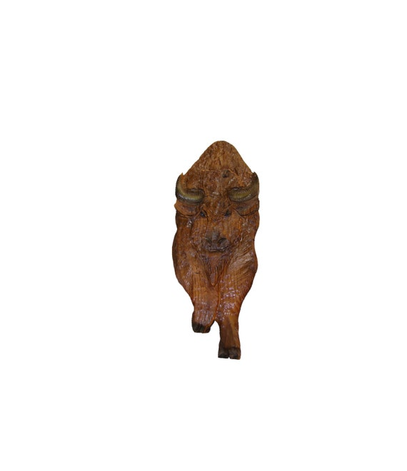 Chainsaw carving american bison rustic carvings buffalo etsy