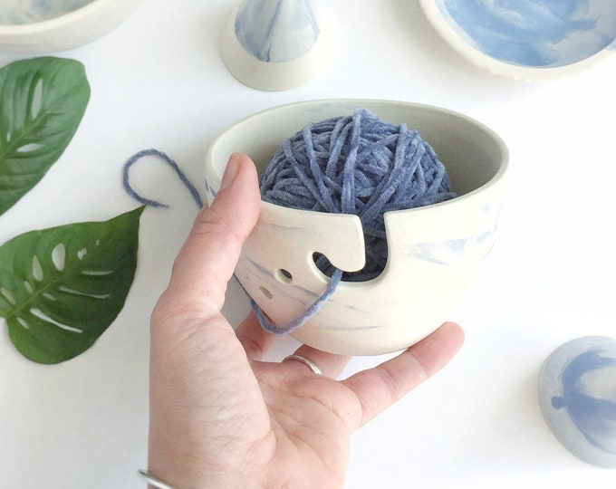 Petite Yarn Bowl Marble Effect Blue Perfect Yarn Keeper #FREESHIPPING #smallyarnbowl