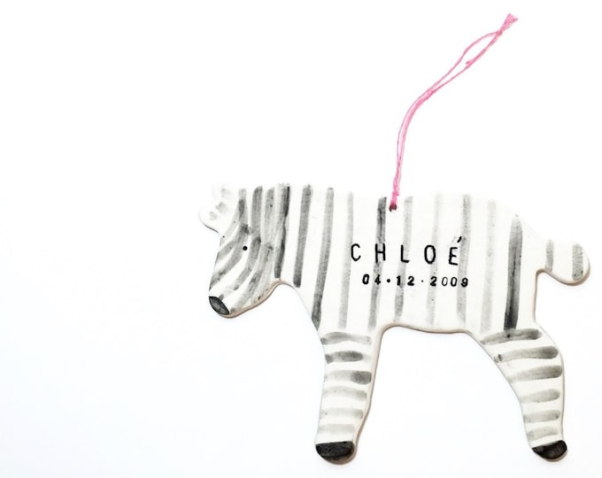 Zebra Personalized Baby Child Ornament White And Black Minimal #zebraornament #zebrababygift #FREESHIPPING