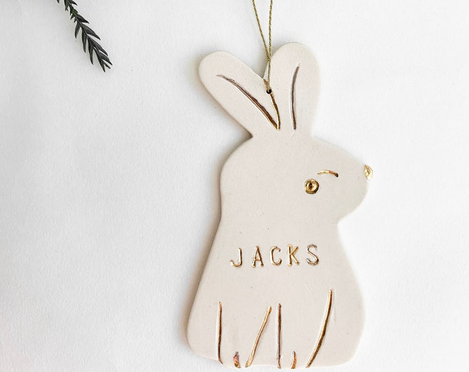 Bunny Personalized Ornament White And 22k Gold #FREESHIPPING