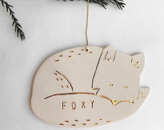 Fox Personalized Ornament White And 22k Gold #FREESHIPPING