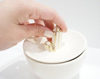 Crystal Lidded Jar White and Gold Jewelry Box Porcelain Pottery Ceramic #FREESHIPPING #crystaljar #ceramicjar