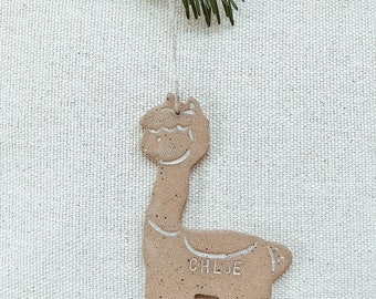 Personalized Llama Child Ornament Natural Earthy Boho