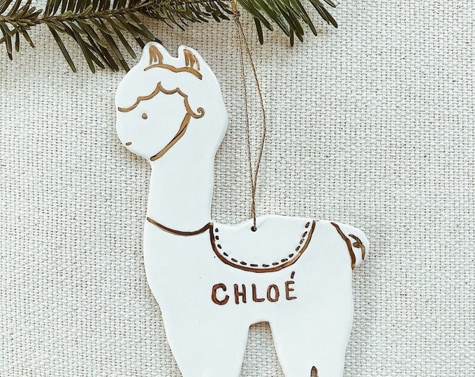 Llama Personalized Ornament  22k Gold Luster Heirloom Babys 1st Ornament #FREESHIPPING #llamaornament #llamachristmas