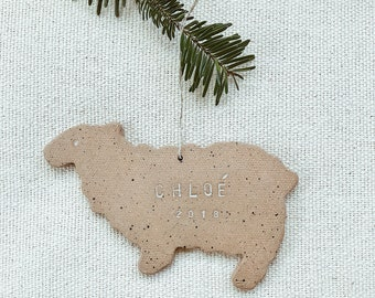 Personalized Sheep Child Ornament  Natural Earthy Boho