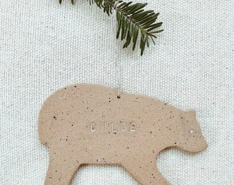 Personalized Bear Ornament  Neutral Natural Earthy Boho