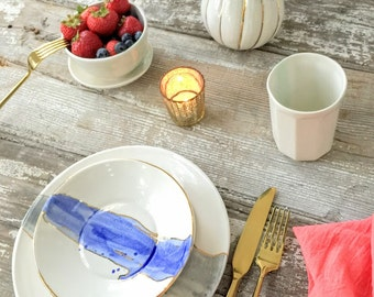 Linen Watercolor Dinnerware Plates with 22K Outline Choose Your Color MADE TO ORDER #linendinnerware #watercolordinnerware